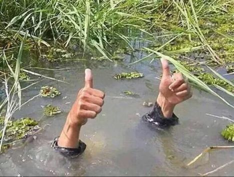 thumbs up drowning